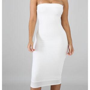 Dresses & Skirts - White Strapless Tube Bodycon Midi Dress